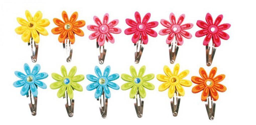 12 haarspeldjes met vilten bloemen
