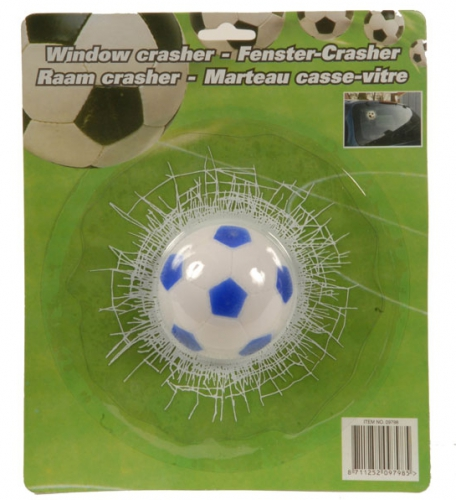 3D raamsticker voetbal crash
