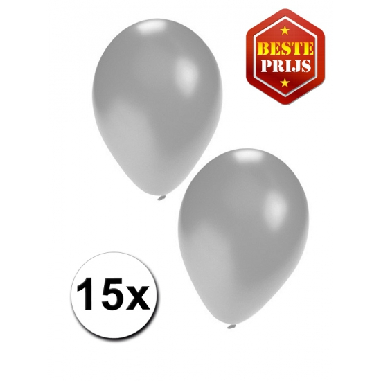 Ballonnen zilver per 15 stuks