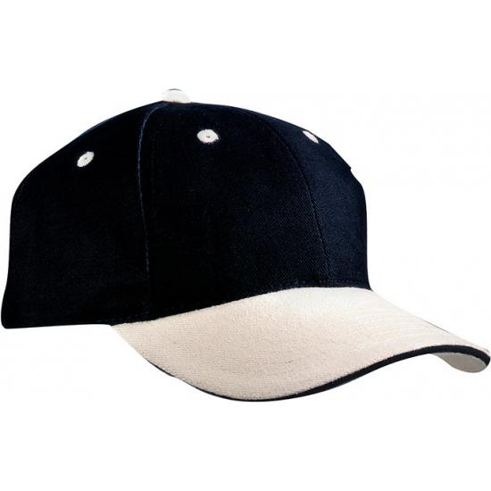 Baseball cap zwart/beige