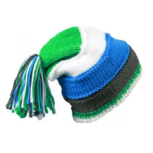 Beanie blauw  groen en wit
