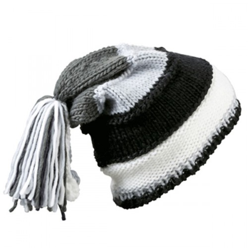 Beanie zwart  grijs en wit