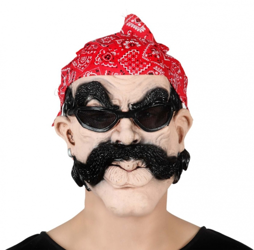 Biker masker met snor en bril