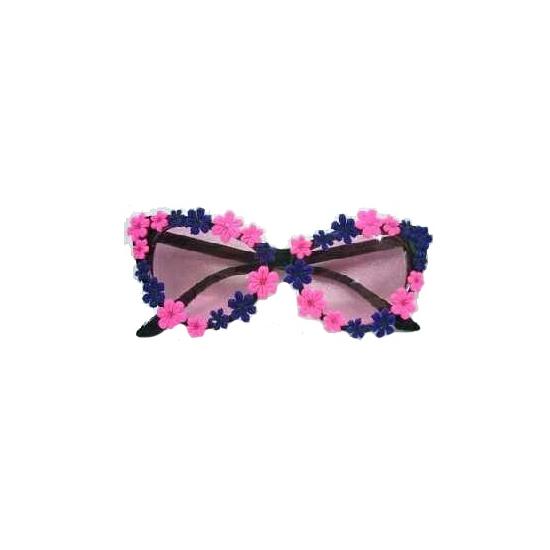 Blauw en roze bloemetjes bril