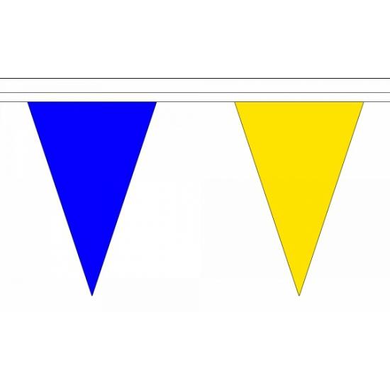 Blauw met gele lange vlaggenlijn 20 meter