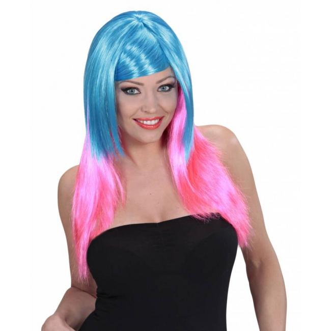 Blauw met roze pruik met lang haar