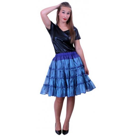 Blauwe 5 laags petticoat