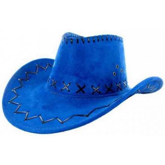 Blauwe cowboyhoed met zwarte stiksels