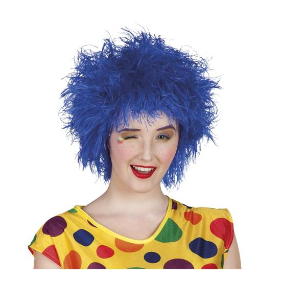 Blauwe crazy look pruik