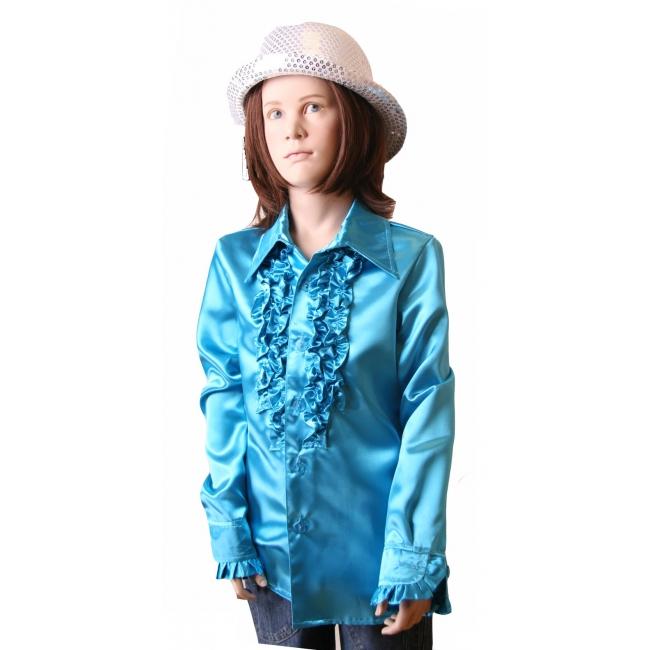 Blauwe disco blouse voor meisjes