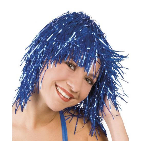 Blauwe foliepruik glinsterend