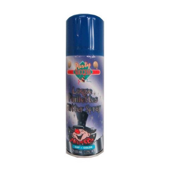 Blauwe glitter haarspray