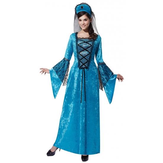 Blauwe prinsessen jurk Middeleeuwen