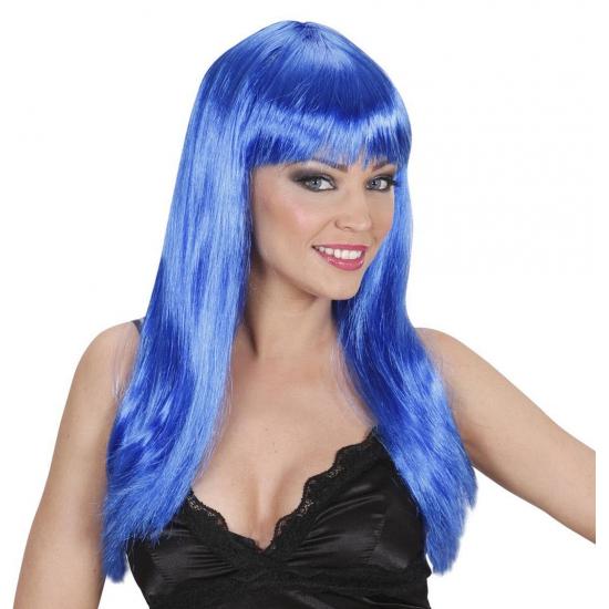 Blauwe pruik met stijl haar en pony