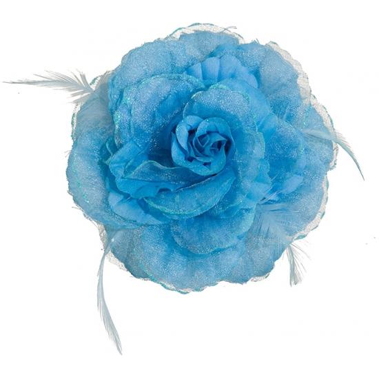Blauwe tropische bloem met clip
