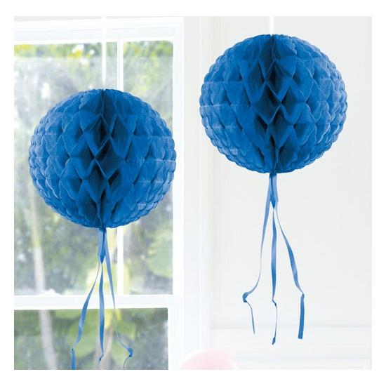 Blauwe versiering bol 30 cm