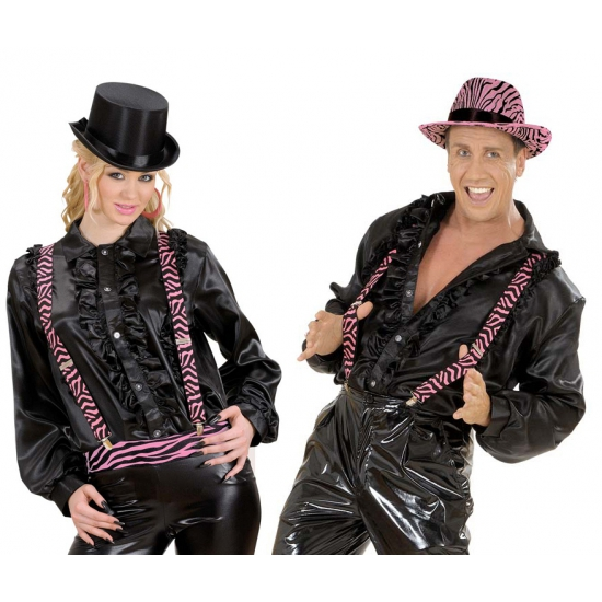 Bretels in zwart/roze zebra motief