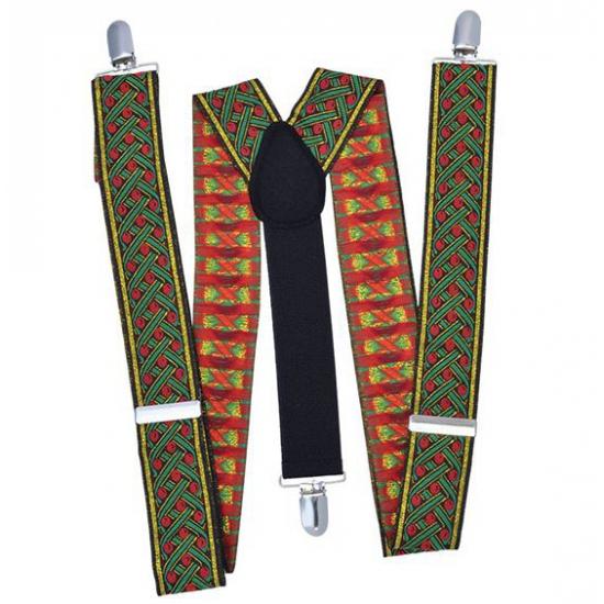 Bretels rood met groen kruispatroon