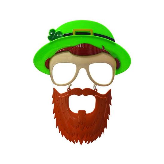 Bril met baard en bolhoed Sint Patrick