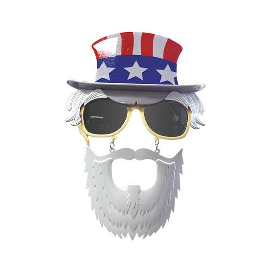 Bril met baard en hoedje Uncle Sam