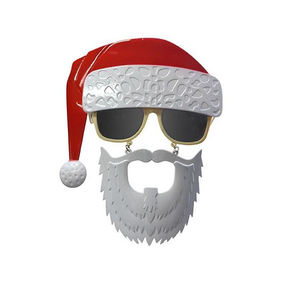 Bril met snor en baard en kerstmuts