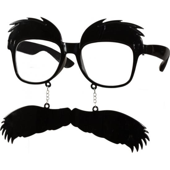 Bril met snor en wenkbrauwen