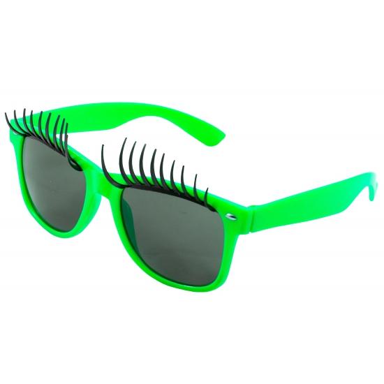 Bril met wimpers neon groen