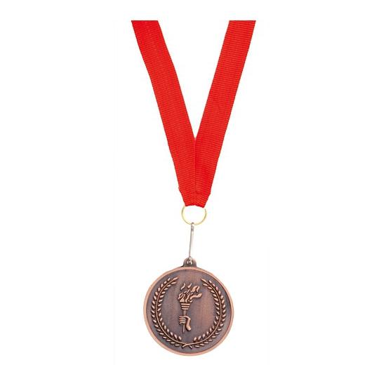 Bronzen medaille aan rood halslint