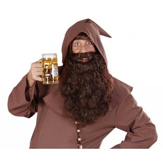 Bruine baard met lange krullen