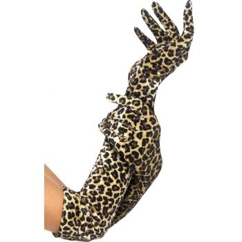 Bruine luipaard print handschoenen