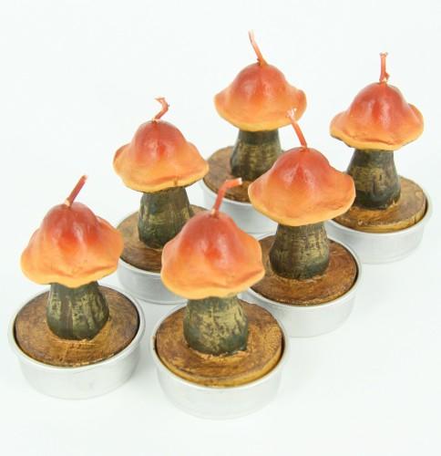 Bruine paddenstoeltje kaarsjes 5 cm