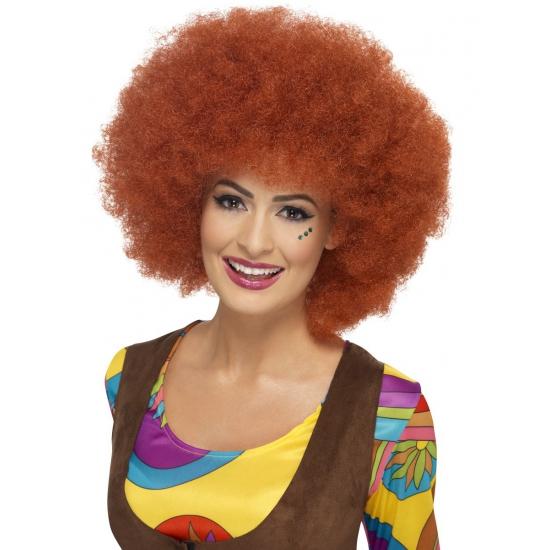 Bruine sixties afro pruik dames