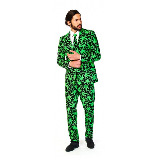 Business suit met cannabis print