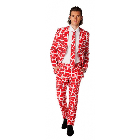 Business suit met rood witte print