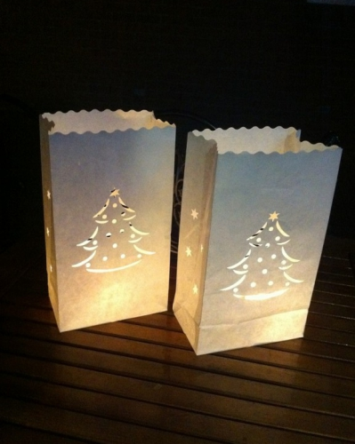 Candle Bags set wit met kerstboom