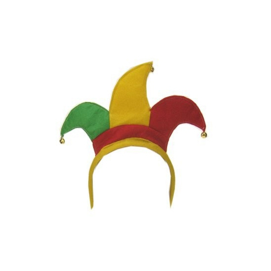 Carnaval diadeem joker rood geel groen