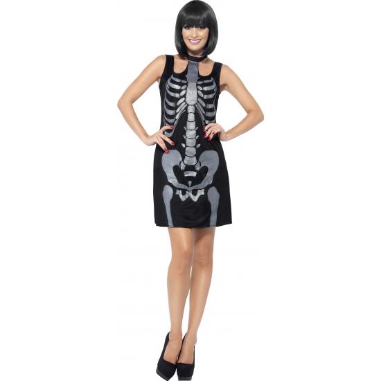 Carnavalskleding skelet jurkje