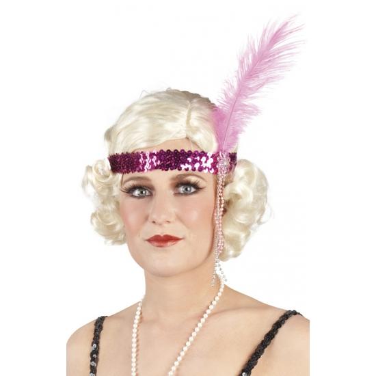 Charleston hoofdband roze met veer