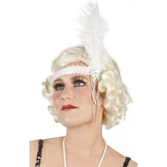 Charleston hoofdband wit met veer