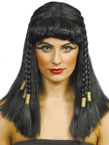 Cleopatra pruik zwart met vlechtjes