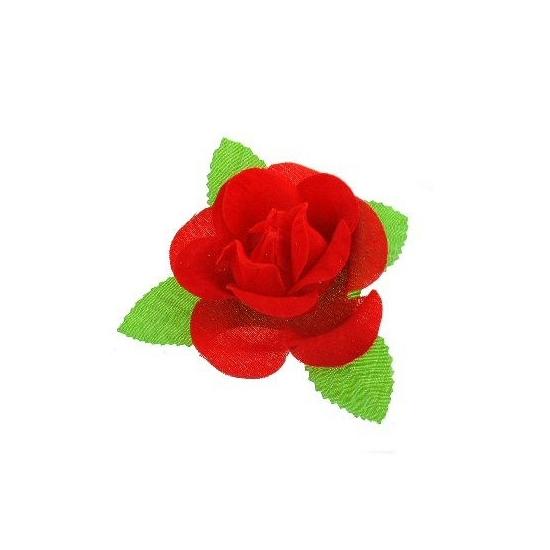 Corsage met rode roos en blad