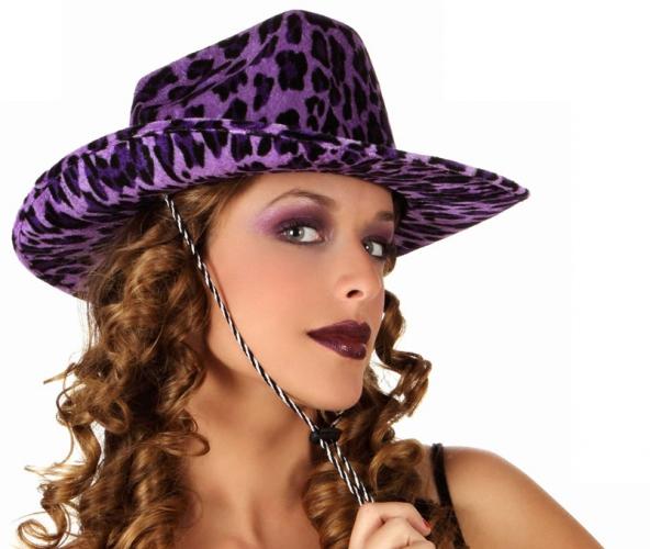 Cowboy hoeden luipaard paars