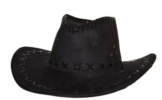 Cowboyhoed zwart suede look