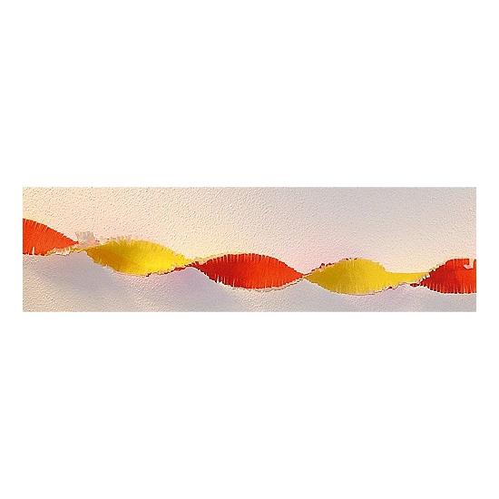 Crepe papier slinger rood / geel 30 meter