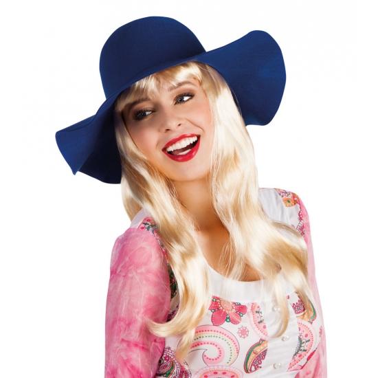 Dames hippie hoed blauw