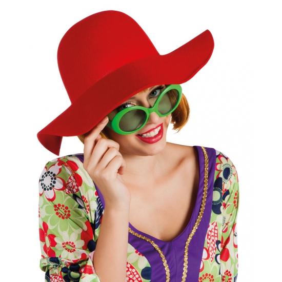 Dames hoed rood met wijde rand