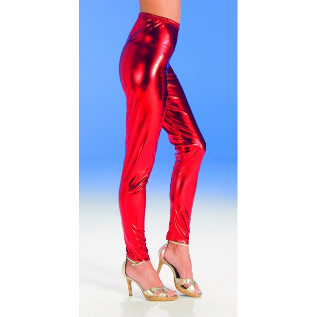 Dames vekleed legging glanzend rood