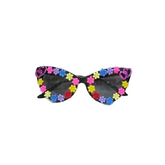 Damesbril met kleurige hippie bloemetjes
