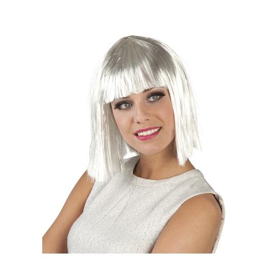 Damespruik halflang bob haar wit en zilver
