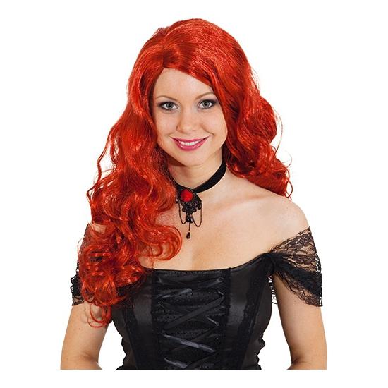 Damespruik met rood krullend haar